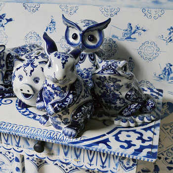 Porcelain Piggy Bank - Blue/White - Owl