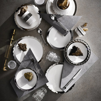 Machine Collection Coffee Cup & Saucer - Design 2 Silver