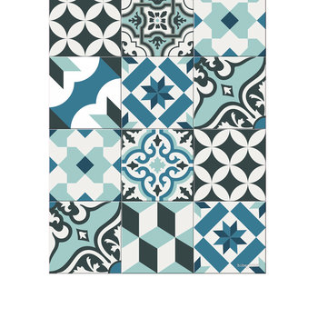 Large Tiles Vinyl Runner - Light Blues - 66x198cm