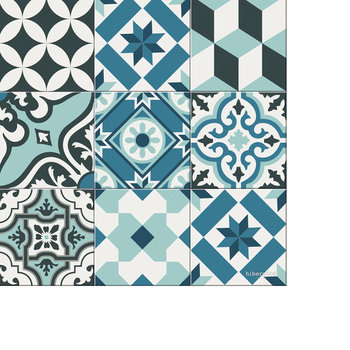 Large Tiles Vinyl Floor Mat - Light Blues - 99x150cm