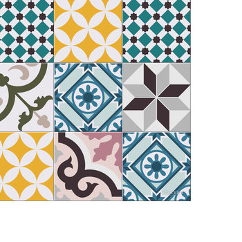 Large Tiles Vinyl Floor Mat - Multi - 99x150cm