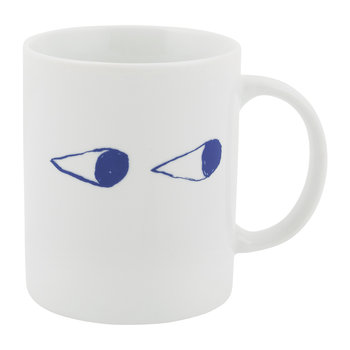 White Mug - Porcelain - Eyes