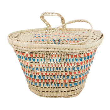 Woven Picnic Basket - Blue & Red