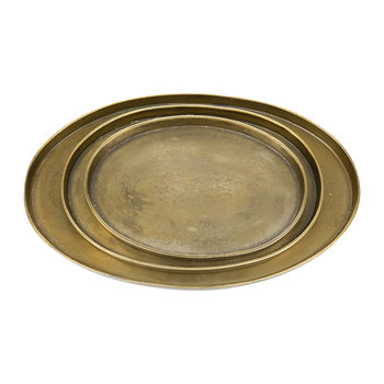 Antique Brass Oval Platters - Set of 3