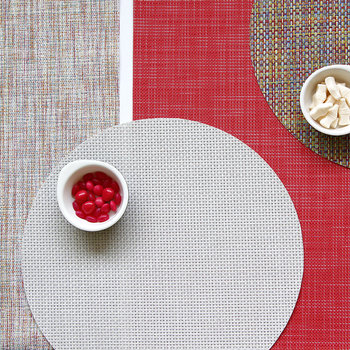 Basketweave Round Placemat - White/Silver