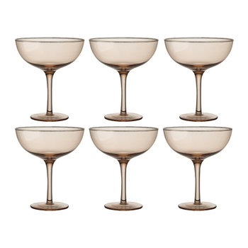 Deco Gold Rim Champagne Coupes - Set of 6 - Powder
