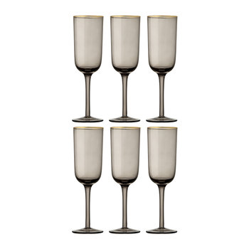 Gold Rim Champagne Flutes - Set of 6 - Grey