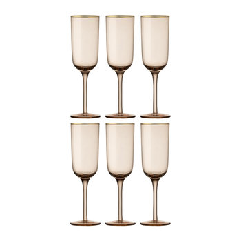 Gold Rim Champagne Flutes - Set of 6 - Powder