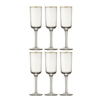 Gold Rim Champagne Flutes - Set of 6 - Clear