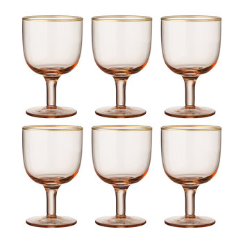 Gold Rim Water Glasses - Set of 6 - Powder