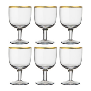 Gold Rim Water Glasses - Set of 6 - Clear