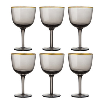 Deco Gold Rim Wine Glasses - Set of 6 - Grey