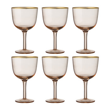 Deco Gold Rim Wine Glasses - Set of 6 - Powder