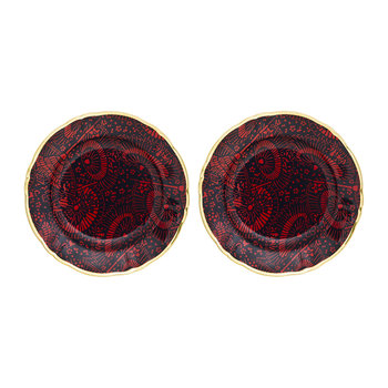 Patterned Side Plates With Gold Rim - Set of 2 - Ombrellini