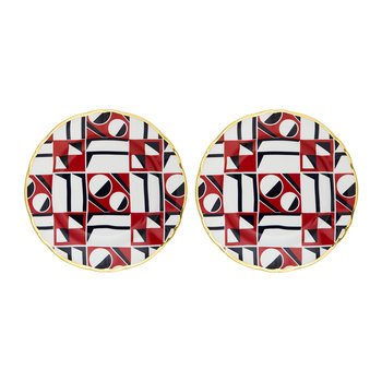 La Double J Patterned Side Plates With Gold Rim - Set of 2 - Spheres