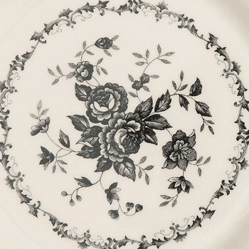 Rose Patterned Side Plate - Black