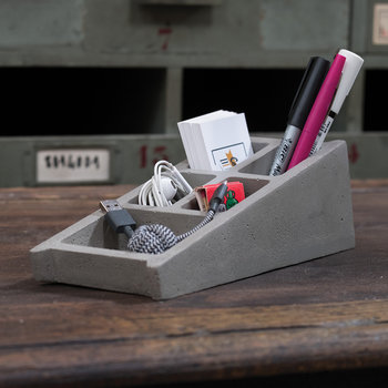 Blockwork Concrete Desk Organizer