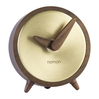 Atomo Table Clock - Walnut/Gold
