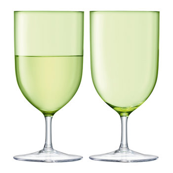 Hint Blown Wine/Water Glass - Set of 2 - Pale Lime
