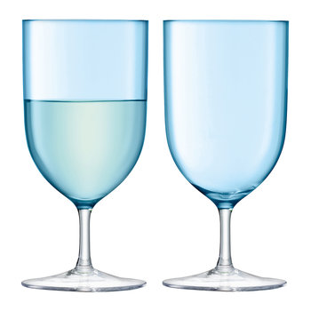 Hint Blown Wine/Water Glass - Set of 2 - Pale Turquoise
