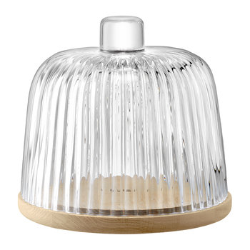 Pleat Glass Dome & Oak Base