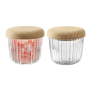 Pleat Glass Pot & Oak Lid - Set of 2