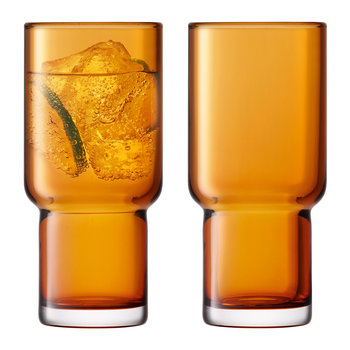 Utility Blown Highball Glass - Set of 2 - Amber