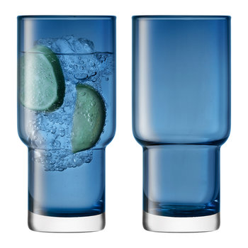 Utility Blown Highball Glass - Set of 2 - Sapphire