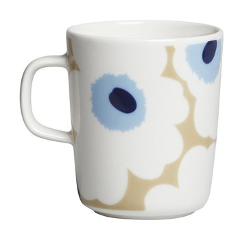 Oiva/Unikko Mug - Small - Beige/White/Blue