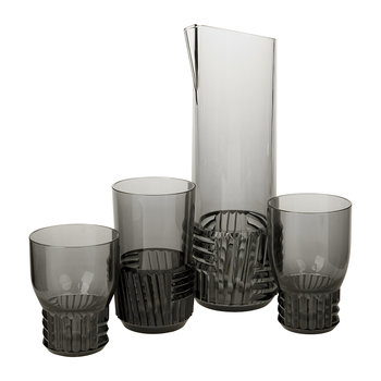 Trama Water Glass - Smoke Grey
