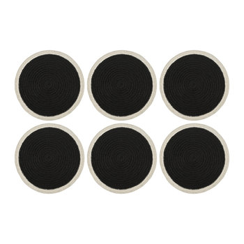 Rope Round Placemats - Set of 6 - Black/White