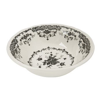 Rose Patterned Cereal Bowl - Black