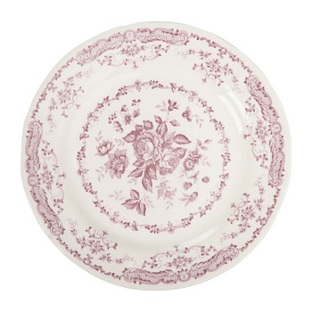 Rose Patterned Dinner Plate - Pink