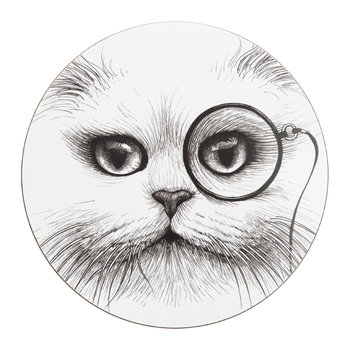 Cat Monocle Placemat - Round - Set of 4