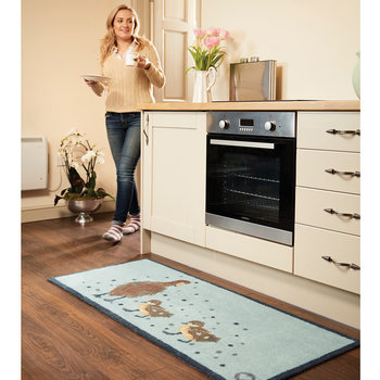 Ducks Washable Recycled Door Mat - Blue - 65x85cm
