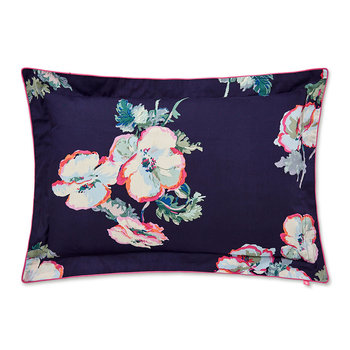 Painted Poppies Oxford Pillowcase - Navy/Multi