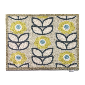 Flowers Washable Recycled Door Mat - Green/Blue - 65x85cm