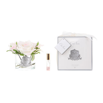 Roses in White Glass with Giftbox - Blush