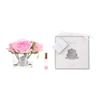 Roses in White Glass with Giftbox - Pink