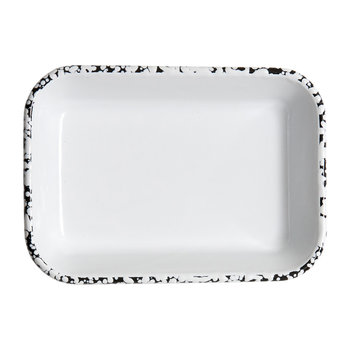 Monochrome Baking Dish - Black/White - Medium Patterned Rim