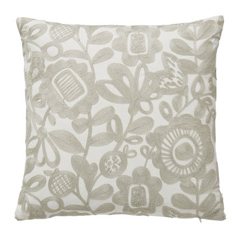 Kukkia Embroidered Cushion - Charcoal - 40x40cm