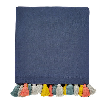 Pepino Knitted Throw with Tassels - Ink