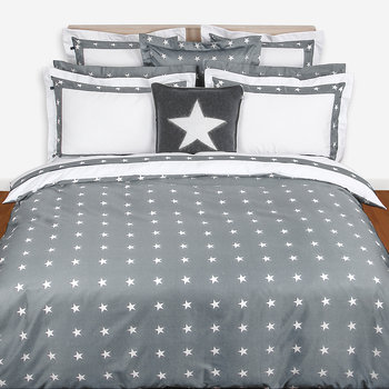 Star Border Duvet Cover - Gray