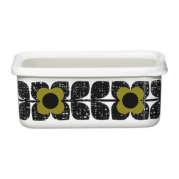 Enamel Scribble Square Flower Storage Container - Large - Seagrass
