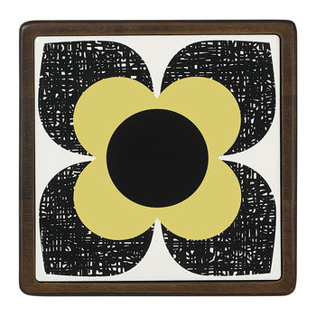 Scribble Square Flower Trivet - Ceramic/Wood - Primrose