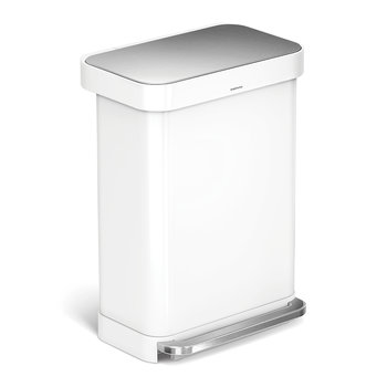 Rectangular Pedal Bin - 55L - White