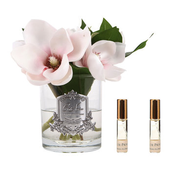 Pink Magnolias - Clear Glass Vase