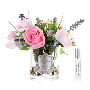 Summer Wild Flowers in Clear Glass Vase - White