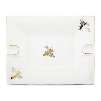 Bee Trinket Tray/Ashtray - Porcelain - White