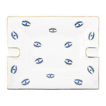 Evil Eye Trinket Tray/Ashtray - Porcelain - White